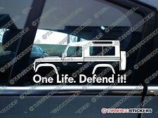 2x One Life, defenderla! Silueta Adhesivos Para Land Rover Defender 90 Wagon