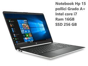 Notebook Hp 15 pollici Intel core i7 Ram 16GB SSD 256 GB Grado A+