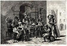 NAPOLI CAPITALE: Venditore di Maccheroni,mangiati con le mani.Stampa Antica.1861