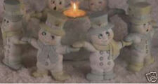 Ceramic Bisque Ready to Paint (8) Hand & Hand Snowmen w/Snowball candle holder
