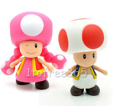 "Lot 2 Super Mario Bros Pcs 4"" TOAD TOADETTE Figure MR72"