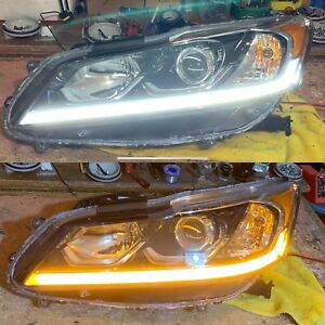 2016 2017 Honda Accord White/Amber Switchback LED Headlamps (Pair) Genuine Honda