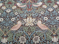 William Morris Curtain Fabric 'Strawberry Thief' 4 METRES Chocolate/Slate