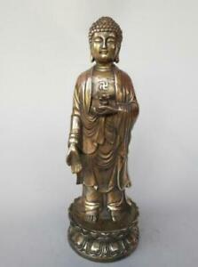 China's pure brass sakyamuni standing Buddha statue