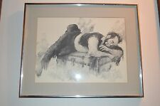 Black & White Sketch of a Clown Dreaming on a Trunk, framed w glass Artwork-MINT