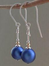Dark Blue Iridescent Swarovski Glass Pearls Sterling Silver & 14ct RG Earrings