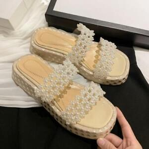 Womens New Fashion Leather Pearl Beaded Platform Slipper Sandals Shoes Mules SKG