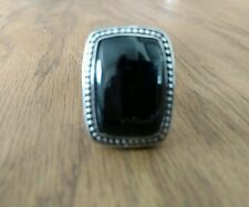 Onyx Stainless Steel Statement Ring Size 10 Comfort Fit