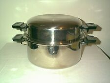 NICE VINTAGE VAPO SEAL 6 QT MULTI PLY 18-8 STAINLESS STEEL STOCK POT & DOMED LID
