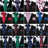 HT Pattern Men Tie Silk Necktie Hanky Set Red Blue Black Geometric Striped Prom