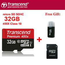 Transcend 400X 60MB/S 32GB MicroSDHC TF Flash Memory Card C10 UHS-I With Adapter