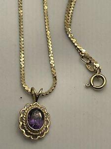 Vintage 9ct Gold Amethyst Pendant & 9ct Gold Fancy Chain 3g Wear Or Scrap