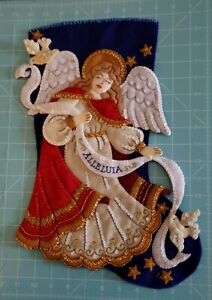 "Finished Bucilla ""Christmas Angel 18"" Christmas Stocking - Handstitched"