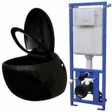 vidaXL Inodoro Negro Suspendido en Pared con Cisterna Oculta Set WC Diseño Huevo