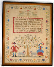 Old Sampler from 1928 People trees And a Poem About Friendship Framed