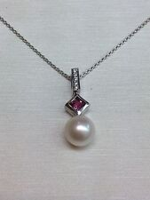 14k White Gold Foxtail Chain with a Akoya Pearl and Pink Tourmaline Pendant