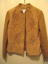 Coldwater Creek XS beige cutwork leather sweater zipper front jacket XC