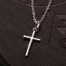 Cuarzo Rosa Cruz Jesús Collar Regalo encanto colgante Cristiano Cristo Fe Reino Unido
