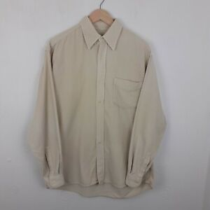 Classic Cream Long Sleeve Oversize Vintage Retro Corduroy Cord Shirt Size Large