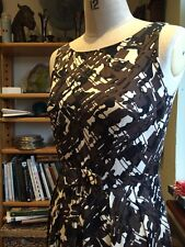 SIZE 10 1950'S 1960'S VINTAGE STYLE BOW FITTED DRESS SEXY NEXT BROWN BLACK CREAM