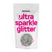 """Hemway CHUNKY Glitter Silver Sparkle 1/40"""" 0.025"""" 0.6mm 625 microns"""