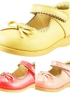 Girl's School Dress Comfy Shoes Mary Jane w bow Toddler size Beige , Pink