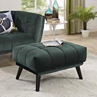 Mid-Century Modern Retro Tufted Velvet Upholstered Wood Leg Ottoman in Green