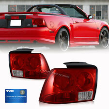 1999 2000 2001 2002 2003 2004 Ford Mustang Red Lens TYC Tail Light Lamps Set R+L