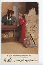 Antique TEDDY ROOSEVELT BEARS Postcard Fantasy Dressed-Animals ca. 1907