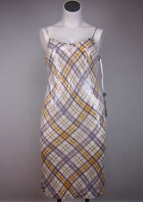 NWT $298 W By Worth 14 Yellow White Plaid Sequin Spaghetti Strap Cocktail Dress