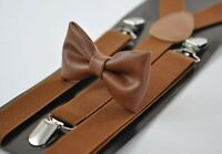Toffee Brown Faux Leather Bow tie Elastic Suspenders Braces for Men Youth Boy