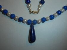 14K Gold 6mm High Quality round Cultured Pearl & 7mm Lapis NECKLACE w Big Drop
