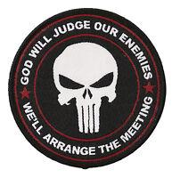 Patch écusson Punisher tactical patche thermocollant God will judge tissé