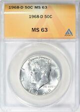 1968-D KENNEDY HALF DOLLAR 50c ANACS MS63