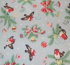 Cath Kidston Blue Christmas Robin Cotton Coated Fabric