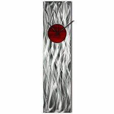 Modern Wall Clock Silver Home Decor Red Metal Wall Art Abstract Kitchen Clock