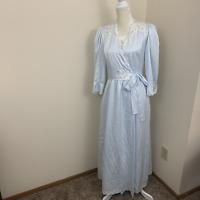 womens Sara Beth vtg night gown robe set blue