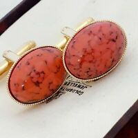 Vintage - CZECH 1950s Coral Orange Peking Glass - Oval Gold Plated Cufflinks