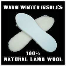 100% Natural Warm Lamb Wool Insoles Winter Shoes Thermal Fleece Pads Size 36 EUR