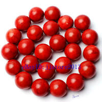 """High Quality 16mm Round Natural Red Grass Coral Gems Loose Beads 15"""" Accessory"""
