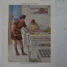 """7x10"""" cartone animato Punch 1925 BILIARDO CON LA TABELLA DI MARMO Masters-Alma Tadema"""