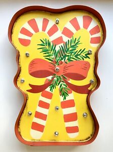 New Christmas Tin Sign Double Candy Cane Light Wall Mounted Metal Xmas Clearance