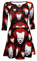 Creepy Killer Clown Evil Blood Halloween Print Skater Dress Alternative Punk