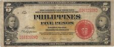 1936 5 SILVER PESOS PHILIPPINES CURRENCY RED SEAL BANKNOTE NOTE BANK BILL CASH