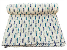 New Indian Cotton Twin Kantha Quilt Blanket Hand Block Print Bedspread Coverlet