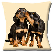 Two Dachshund Puppy Dogs Cushion Cover 16x16 inch 40cm Cute Pups Kissing Cream
