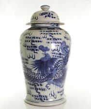 """Beautiful Blue and White Porcelain Dragon and Phoenix Temple Jar 18.5"""""""