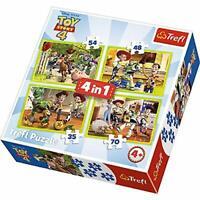 Trefl 4 IN 1 Disney Toy Story 4 Puzle Rompecabezas en Caja Playset de Juguete