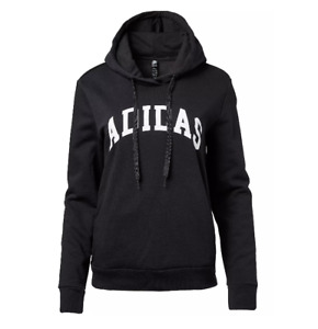 Adidas Hoodie Womens XS Authentic Collegiate Graphic Cozy Cotton Fleece Black