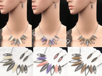 leaves inspired lucite collar choker silver plate necklace drop earrings set S89